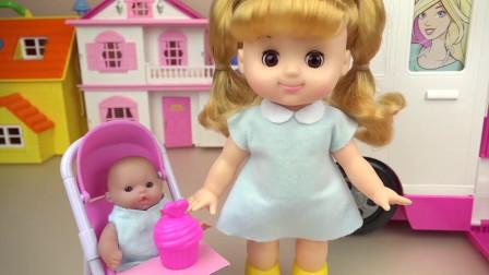 米露给米兰和宝宝制作美味的小蛋糕