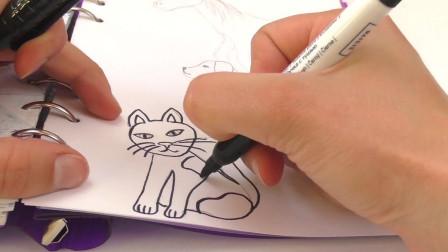 DIY手工制作:笔记本涂鸦装饰简笔画花纹绘画彩色花样狗猫马展示