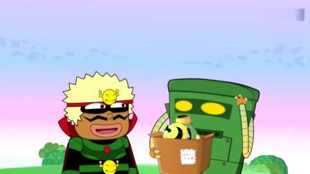 开心超人:大大怪想偷走喷雪的机器,结果看到快递员拿着喷雪机!