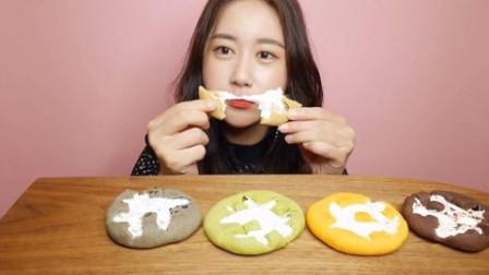 吃美食的声音:漂亮小姐姐吃棉花糖饼干,可以一起吃吗