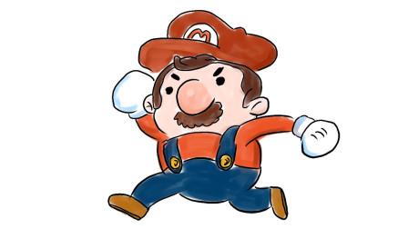 游戏中快速奔跑的马里奥儿童卡通漫画