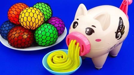早教儿童玩具手工:边玩小猪橡皮泥边学颜色
