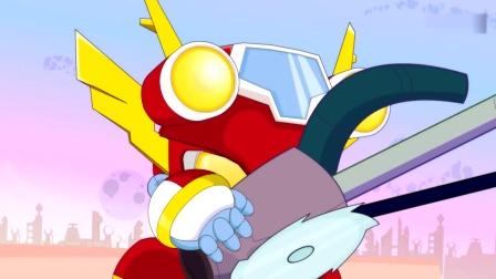 开心超人:怪兽追着宅博士跑,开心超人和甜心超人变身挡住了它!