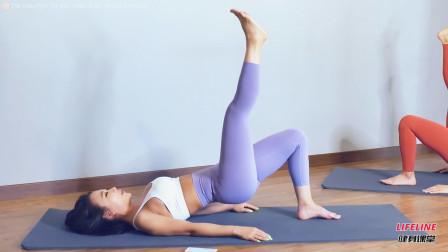 很多人做臀桥会把腿练粗,关键没掌握好臀部发力,腰腿别用力