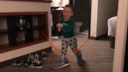 萌娃强行穿上父亲的鞋,第一个根本走不动,第二个反应令人笑喷!