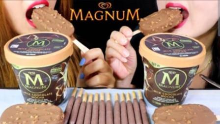 吃播小姐姐:咀嚼音吃播,吃梦龙巧克力雪糕,巧克力棒