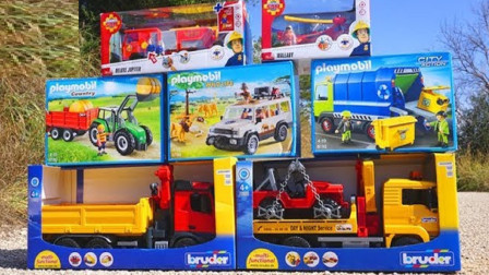 工程车自卸卡车挖掘机装载机玩具拆箱