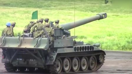 超级巨无霸!日本203㎜自行榴弹炮真实射击,超得劲