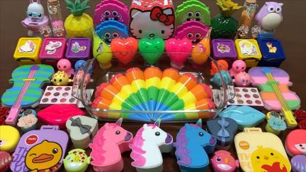 用80多种彩虹裱花袋玩具做泥,无硼砂搭配独角兽凯蒂猫等,成品诱人