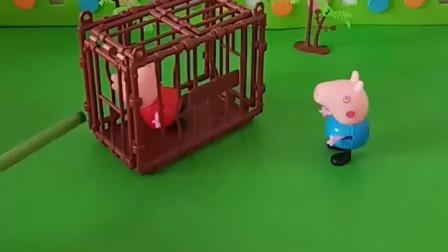 乔治把佩奇关起来了,因为佩奇考的比乔治好,猪妈妈还说乔治