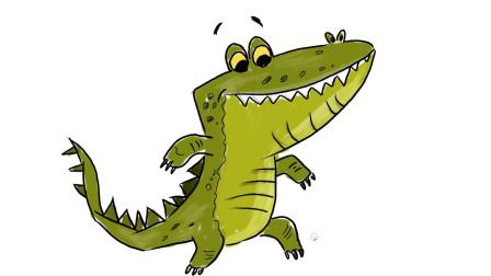 一只开心的鳄鱼儿童卡通简笔画教程