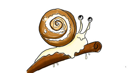 树枝上的蜗牛儿童卡通简笔画画法