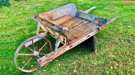 这台板车放那十几年了,彻底报废了,看男子如何将它复活的