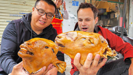 吃货老外挑战疯狂羊头!开启疯狂的开封街头美食之旅!