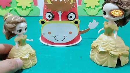益智少儿亲子玩具:贝儿的小马纸杯这么厉害,你们会帮助白雪吗1095