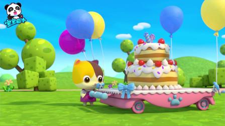 《宝宝巴士奇妙救援队》生日蛋糕  装饰气球把蛋糕台带飞了起来