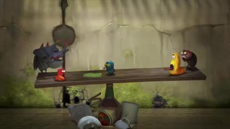 小黄他们保持跷跷板的平衡,可是苍蝇飞过来了,打破了跷跷板的平衡