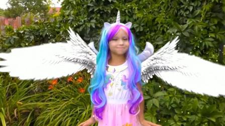 小女孩喜欢小马宝莉,妈妈把她化妆成塞拉斯蒂娅公主
