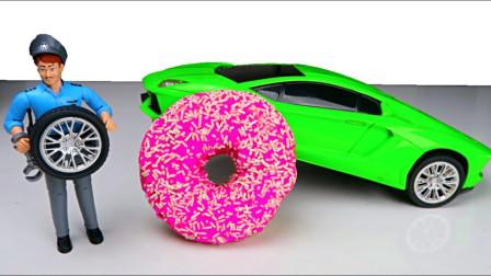 萌宝卡通玩具:越看越搞笑!维修工人居然把汽车轮胎换成甜甜圈