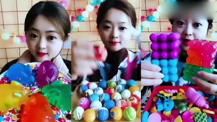小姐姐直播吃彩色小兔果冻,台球糖,你们吃过吗?