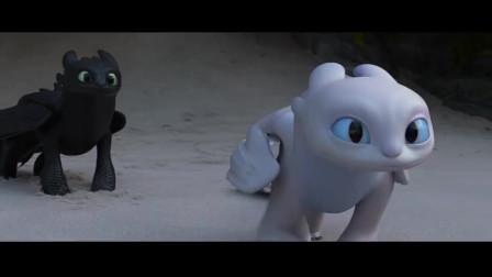 驯龙高手3:无牙仔带电灯泡小嗝嗝来约会,光煞气得转身就飞走了
