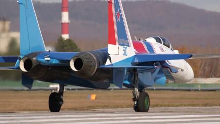 """新飞机到货!俄""""勇士""""飞行表演队接收苏35,矢量机数量达12架"""