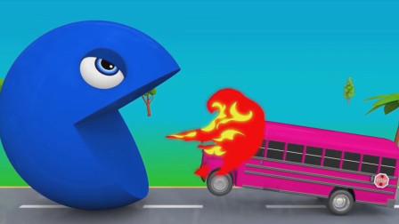 粉色校车无端惹怒了吃豆人,这下该倒大霉了吧?吃豆人游戏