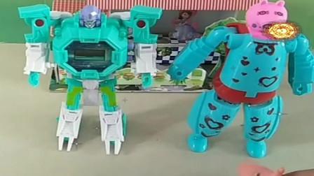 益智少儿亲子玩具:大头喜欢佩奇的机器人,还是乔治的机器人537