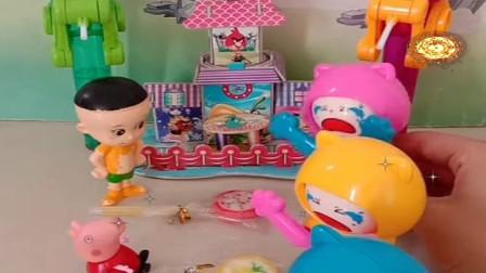 益智少儿亲子玩具:大头,佩奇乔治不愿意给变脸娃娃棒棒糖吃672