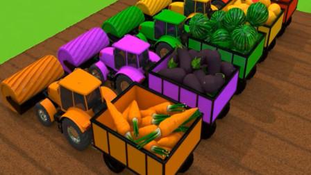 启蒙英语动画 彩色的农场拖拉机收获各种水果 汽车动漫