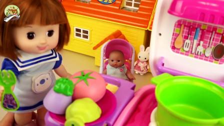 婴儿娃娃草莓玩具,厨房烹饪和冰箱玩具