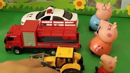 佩奇一家每人一辆汽车,佩奇的是维修车,乔治的是滑板车