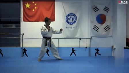 跆拳道腿法步法组合动作讲解第一课