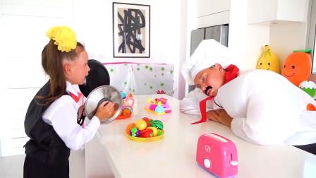 餐厅里来顾客了,厨师却还在偷懒睡觉!—萌娃:快醒醒呀!你可真是不让人省心呢!