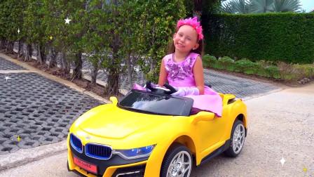 萌娃小可爱刚开着她漂亮的小汽车出门就遇到了龙卷风,萌娃:宝宝的发型都被弄乱啦!