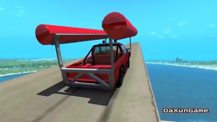 车祸模拟器:皮卡车在空中变身游艇,能否降落成功呢?