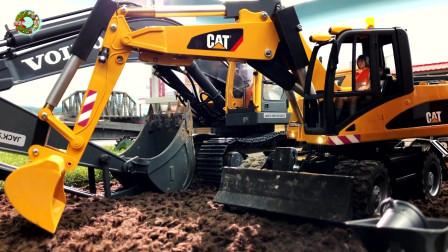 重型工程车玩具,履带挖掘机和轮式挖掘机玩具,自卸车玩具