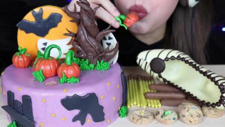 吃美食的声音,小姐姐吃果冻、多层蛋糕、巧克力棒、曲奇饼干、声音真好听