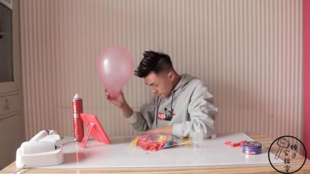 小伙把头发抓成地刺形状,能将气球扎破吗?一起来看实验结果吧