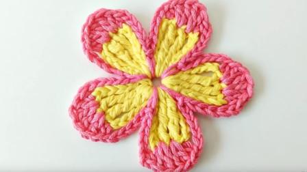 5分钟学钩一朵简式蝴蝶花,搭配儿童帽子或衣服,好看又可爱