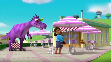 汪汪队:市长正要吃汉堡,一回头发现了大恐龙,吓得她把汉堡扔了