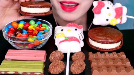 妹子试吃各种网红甜品,巧克力还有可爱的凯蒂猫,你最爱哪一个呢?