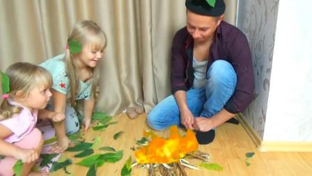 咋回事?萌宝小萝莉的爸爸为何在房间里生火呢?趣味玩具故事
