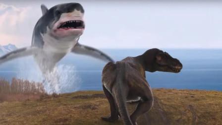 脑洞大开!巨型鲨鱼大战霸王龙,超级烂片《鲨卷风》又来了!