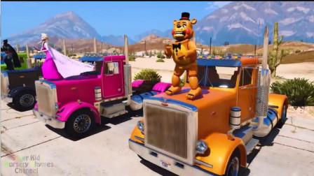汽车玩具视频:迪士尼乐园,超级英雄开着超长箱式卡车精彩表演