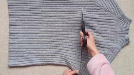 毛衣不穿了,腋下剪一刀,放到沙发上,美观实用,客人见了都夸好