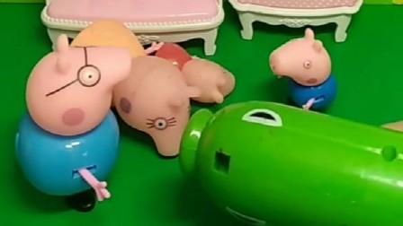 乔治又买了一个新玩具,全家人也太好了,都在配合乔治的恶作剧