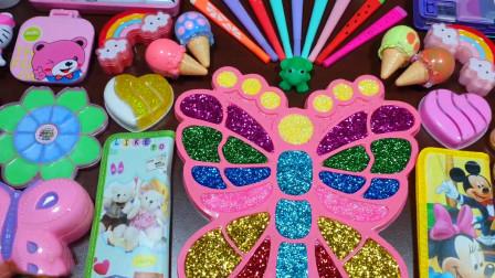 创意史莱姆,蝴蝶彩泥+小花黏土+爱心米粒泥+冰激凌彩泥,效果棒棒哒