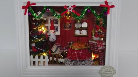DIY迷你娃娃屋,圣诞节装饰的欢乐小屋