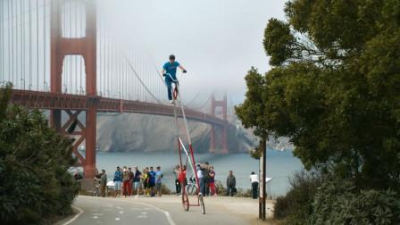 4.5米高的自行车见过?骑行像凌空飞渡,想知道怎么下来!